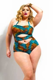 Plus Size Swimwear Monif C Fiji Print Ruched 1 Pc Swimsuit