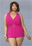 Women's Plus Size Swimwear - Monif C Mozambique Plus Size Halter Swimdress - NO RETURNS