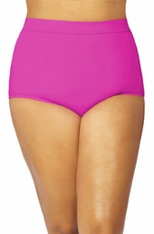 Women's Plus Size Swimwear - Monif C Separates Sao Paulo Hi Waist Bikini Bottoms ONLY #702B - Fuchsia ON SALE $52.50