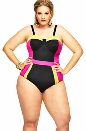 Women's Plus Size Swimwear - Monif C St Vincent Color Block 1 Pc Swim