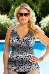 Women's Plus Size Swimwear - Captiva Separates - Waft Sand Tankini Underwire Top