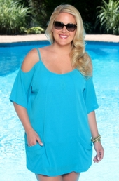 Women's Plus Size Cover Ups - Always For Me Cover Open Shoulder Tunic