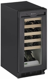1115WCB-00 U-Line 1000 Series Undercounter 24 Bottle Wine Captain - Black - Field Reversible