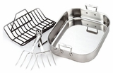 501631 All Clad Stainless Steel Large Roti Combo with Rack and Turkey Lifters Cookware