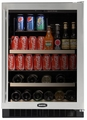 "6BARM-BS-G-R Marvel 24"" Undercounter Two Zone Beverage and Wine Cooler - Black Cabinet & Stainless Steel Frame Glass Door - Right Hinge"