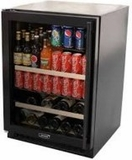 "6BARMBBGL Marvel 24"" Undercounter Two Zone Beverage and Wine Cooler - Black Frame Glass Door - Left Hinge"