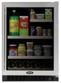 "6GARM-BB-O-R Marvel 24"" Luxury Glass Door All Refrigerator and Beverage Center - Black Cabinet & Overlay Solid Panel - Right Hinge"