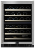 "6SDZEBSGLR Marvel 24"" Undercounter 44 Bottle Dual Zone Wine Cellar with Stainless Steel Framed Glass Door & Door Lock - Right Hinged"
