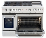 "CGSR484GGL Capital Culinarian Series 48"" Self-Clean Liquid Propane Range with 4 Open Burners and 24"" Griddle - Stainless Steel"