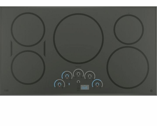 """CHP9536SJSS GE Cafe Series 36"""" Built In Touch Control Induction Cooktop - Gray"""