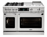"COB484BGLP Capital 48"" Connoisseurian Dual Fuel Self-Clean Range with 4 Open Burners + 12"" Broil Burner + 12"" Thermo Griddle - Liquid Propane - Stainless Steel"