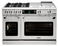 "COB484BGSSN Capital 48"" Connoisseurian Dual Fuel Self-Clean Range with 4 Open Burners + 12"" Broil Burner + 12"" Thermo Griddle - Natural Gas - Stainless Steel"