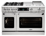 "COB484BGN Capital 48"" Connoisseurian Dual Fuel Self-Clean Range with 4 Open Burners + 12"" Broil Burner + 12"" Thermo Griddle - Natural Gas - Stainless Steel"