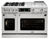 "CSB484BGN Capital 48"" Connoisseurian Dual Fuel Self-Clean Range with 4 Sealed Burners + 12"" Broil Burner + 12"" Thermo Griddle - Natural Gas - Stainless Steel"