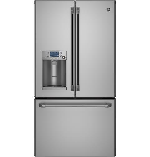 CYE22TSHSS GE Cafe Series Energy Star 22.1 Cu. Ft. Counter Depth French-Door Refrigerator with Hot Water Dispenser - Stainless Steel
