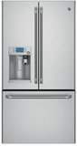 """CYE22USHSS GE Cafe Series 36"""" Energy Star 22.2 Cu. Ft. Counter-Depth French-Door Refrigerator with Keurig K-Cup Brewing System"""