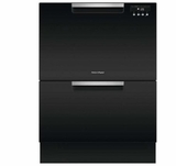 "DD24DAB9 24"" Fisher & Paykel Full Console Double Drawer Dishwasher with Quick Wash and 2 Cutlery Basket - Black"