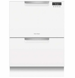 "DD24DAW9 24"" Fisher & Paykel Full Console Double Drawer Dishwasher with Quick Wash and 2 Cutlery Basket - White"