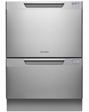 DD24DCHTX7 Fisher & Paykel Tall Double DishDrawer with Recessed Handles and Water Softener - Stainless Steel