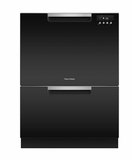 "DD24DCTB9 24"" Fisher & Paykel Full Console Tall Double Drawer Dishwasher with Quick Wash and 2 Cutlery Basket - Black"