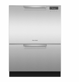 "DD24DCTX9 24"" Fisher & Paykel Full Console Tall Double Drawer Dishwasher with Quick Wash and 2 Cutlery Basket - Stainless Steel"