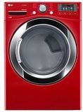 DLEX3370R LG 7.4 Cu. Ft. Ultra Large Capacity SteamDryer with Stainless Drum - Wild Cherry Red