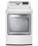 "DLGX7601WE 27"" LG 7.3 Cu. Ft. Ultra Large Capacity High Efficiency Gas Steam Dryer with EasyLoad Door - White"