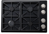"DYCT304GBLP Dacor 30"" Discovery Gas Cooktop with 4 Burners and Die Cast Knobs - Liquid Propane - Black"