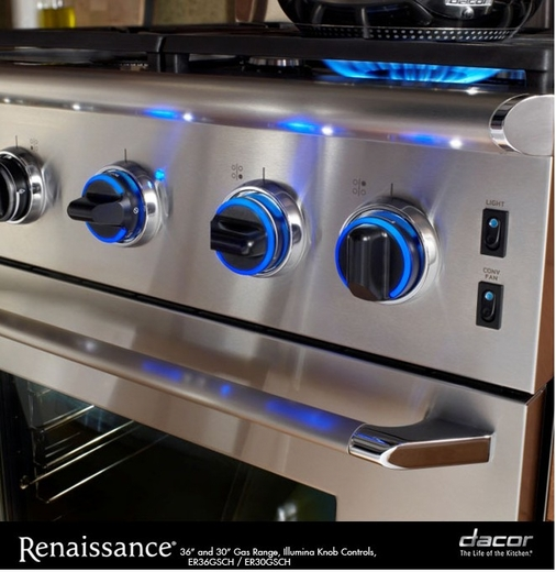 "ER36GISCHNG Dacor Renaissance 36"" All Gas Range - Island Option - Natural Gas - Stainless Steel"
