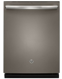 "GDT695SMJES GE 24"" Stainless Steel Interior Dishwasher with Hidden Controls and Third Rack - Slate"