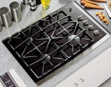 GE Gas Cooktops BLACK WITH STAINLESS STEEL