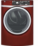 "GFD48ESPKRR 28"" GE 8.3 Cu. Ft. Capacity Front Load Electric Dryer with Sanitize Cycle and Steam Refresh - Ruby Red"