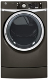 GFDR275GHMC GE 8.1 cu. ft. Capacity RightHeight Design Front Load Gas Dryer with Steam - Metallic