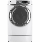 GFDR480EFWW GE 8.3 cu. ft. Capacity Front Load Electric Dryer with Steam & Built-in Riser (Pedestal) - White