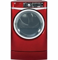 GFDR485EFRR GE 8.3 cu. ft. Capacity Front Load Electric Dryer with Steam & Built-in Riser (Pedestal) - Ruby Red