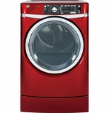 GFDR485EFRR GE 8.3 cu. ft. Capacity  Electric Dryer with Steam & Built-in Riser (Pedestal) - Ruby Red