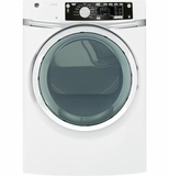 GFDS260EFWW GE 8.1 cu. ft. capacity  Electric Dryer with Steam - White
