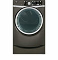 GFDS265EFMC GE 8.1 cu. ft. capacity Front Load Electric Dryer with Steam & Built-in Riser (Pedestal) - Metallic Carbon