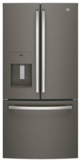 "GFE24JMKES GE 33"" 23.8 Cu. Ft. French Door Refrigerator with Exterior Ice & Water - Slate"