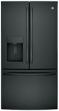 "GFE26GGKBB GE 36"" 25.8 Cu. Ft. Black French Door Refrigerator with Showcase LED Lighting - Black"