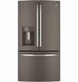 """GFE26GMHES GE Energy Star 25.7 Cu. Ft. 36"""" Wide French-Door Ice & Water Refrigerator - Slate"""