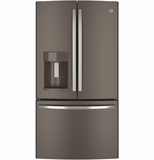 "GFE26GMHES GE Energy Star 25.7 Cu. Ft. 36"" Wide French-Door Ice & Water Refrigerator - Slate"