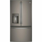 "GFE26GMKES GE 36"" French-Door Bottom Freezer Refrigerator with Showcase LED Lighting - Slate"