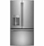"GFE26GSHSS GE Energy Star 25.7 Cu. Ft. 36"" Wide French-Door Ice & Water Refrigerator - Stainless Steel"