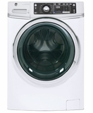 "GFW480SSKWW 28"" GE 4.9 DOE Cu. Ft. Capacity Front Load Washer with Precision Dispense and Steam Assist - White"