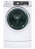 "GFW490RSKWW 28"" GE 4.9 DOE Cu. Ft. Capacity Front Load Washer with RightHeight Built-In Pedestal and Steam Assist - White"