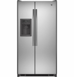 "GSE25ESHSS GE Energy Star 24.7 Cu. Ft. Side-By-Side 36"" Refrigerator with Spillproof Shelves - Stainless Steel"