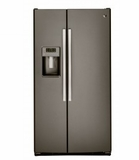 """GSS23GMKES 33"""" GE  23.2 Cu. Ft. Side-By-Side Refrigerator with Ice Maker and Adjustable Gallon Door Bins - Slate"""