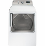 GTDS850EDWS General Electric GE 7.8 cu. ft. Capacity Electric Dryer with Stainless Steel Drum and Steam - White on White with Silver Backsplash
