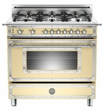 "HER366GASCR01 Bertazzoni Heritage 36"" Range with 6 Brass Burners and Gas Oven - Cream"